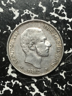 1882 Spanish Philippines 50 Centavos Lot#1051 Silver! Nice!