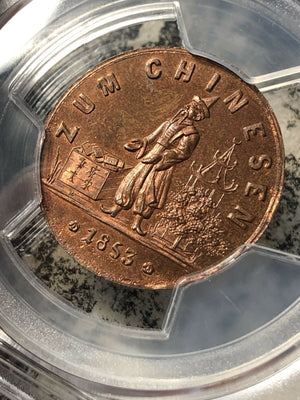 1853 Czech Merchant Token Colonial China PCGS MS64 Red Brown Lot#G143 V. Scarce!
