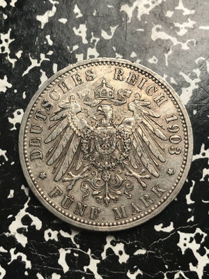 1903-G German States Baden 5 Mark Lot#X9954 Large Silver Coin! Low Mintage!