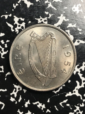 1954 Ireland Half 1/2 Crown Lot#X7504 High Grade! Beautiful!