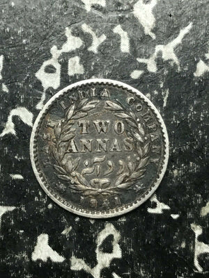 1841 India 2 Annas Lot#L359 Silver!