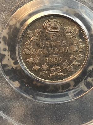 1909 Canada 5 Cent Silver PCGS AU53 Lot#GB099 Pointed Leaves Better Variety!