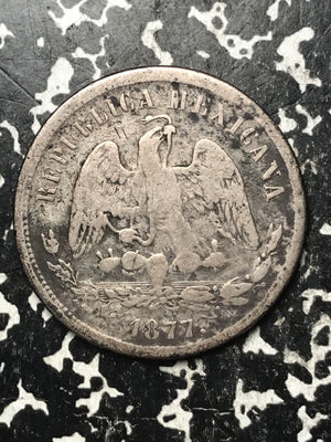 1877-As L Mexico 50 Centavos Lot#1089 Silver! Scarce! 26,000 Minted