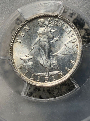 1941-M Philippines 10 Centavos PCGS MS64 Lot#G165 Silver!