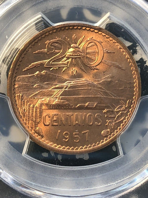 1957-Mo Mexico 20 Centavos PCGS MS65 Red Lot#G994 Gem BU!