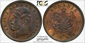 1900-B Romania 1 Ban PCGS MS64 Red Brown Lot#G327 Nice UNC Piece!