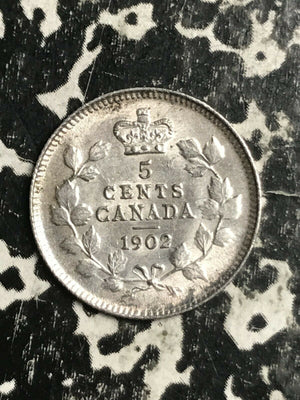 1902 Canada 5 Cents Lot#L3251 Silver! Nice!