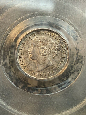 1870 Canada 5 Cent Silver PCGS MS62 Lot#GB094 Nice UNC Piece!