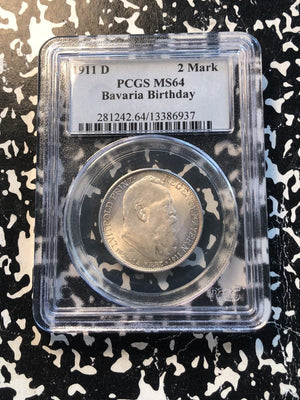 1911-D German States Bavaria 2 Marks PCGS MS64 Lot#G968 Silver! Nice UNC!