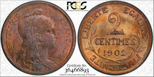 1902 France 2 Centimes PCGS MS65 Red Brown Lot#G155 Gem BU!