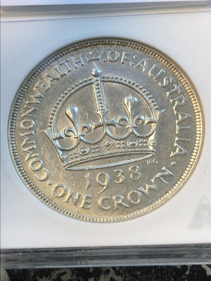 1938 Australia 1 Crown ANACS AU55 Lot#G966 Silver! Key Date!