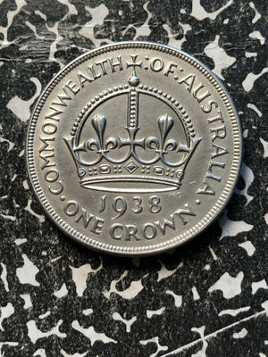 1938 Australia 1 Crown Lot#JM875 Large Silver Coin! Nice! Key Date!