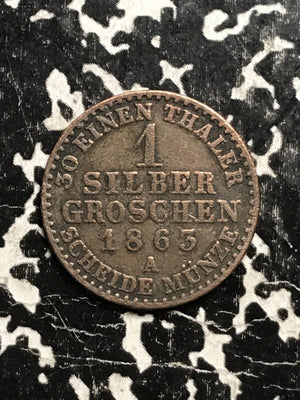 1863 German States Prussia 1 Groschen Lot#1293 Silver!