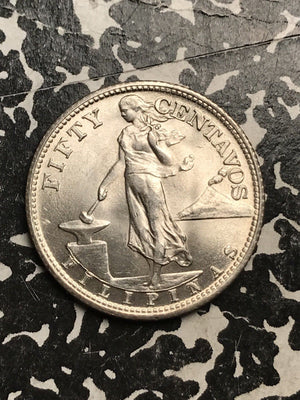 1944-S U.S. Philippines 50 Centavos Lot#X6834 Silver! High Grade! Beautiful!