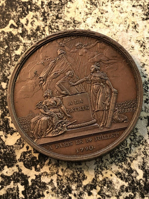 1790 France Bronze Medal by Gatteaux #JM647 1st Ann. Storming of Bastille 42mm