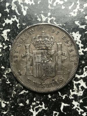 1885 Spain 5 Pesetas Lot#L2597 Large Silver Coin!