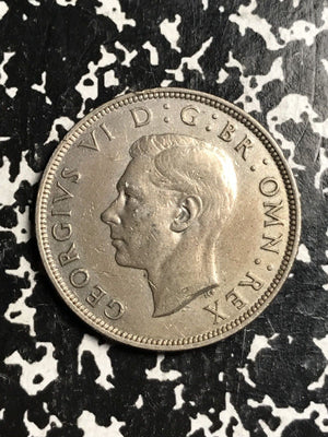 1939 Great Britain 1/2 Half Crown Lot#X8031 Silver!