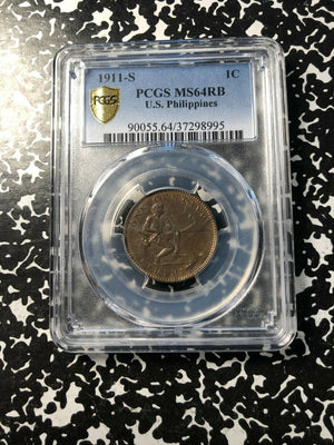 1911-S U.S. Philippines 1 Centavo PCGS MS64 RB Red Brown Lot#G390 Choice UNC!