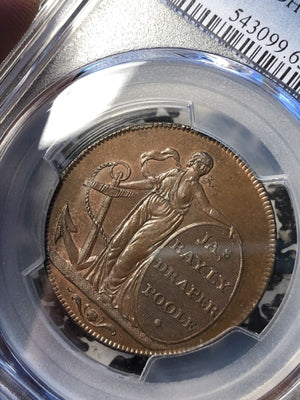 1795 Great Britain Conder Token 1/2 Penny PCGS MS65 BN #G000 DH#6 Dorsetshire
