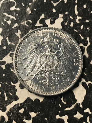 1913 German States Prussia 2 Mark Lot#X7060 Silver! Cleaned
