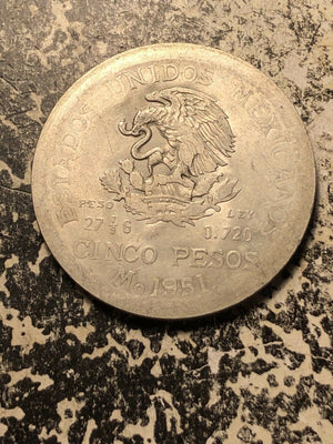 1967 Anguilla Liberty Dollar Overstruck on 1951 Mexico 5 Peso Lot#JM682 Silver!