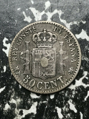 1889 Spain 50 Cents Lot#L2586 Silver! Low Mintage!