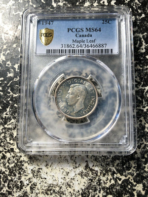 1947 Maple Leaf Canada 25 Cent Silver! PCGS MS64 Lot#G151 Choice UNC!