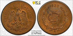 1928 Large Date Mexico 5 Centavo PCGS MS64 Brown Lot#G388 Choice UNC!