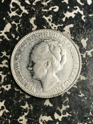 1924 Netherlands 1 Gulden Lot#L5825 Silver!