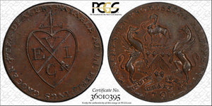 1793 Great Britain Conder Token 1/2 Penny PCGS MS63 BN #G998 DH#132 Lancashire