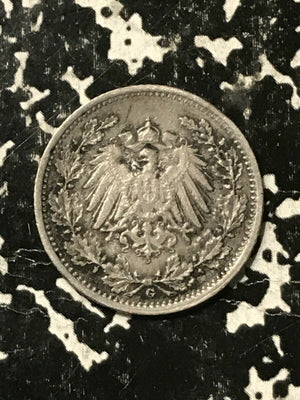 1917-G Germany 1/2 Mark Lot#L149 Silver! Low Mintage!