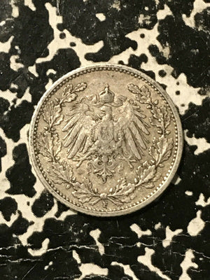 1911-F Germany 1/2 Mark Lot#L148 Silver! Low Mintage!