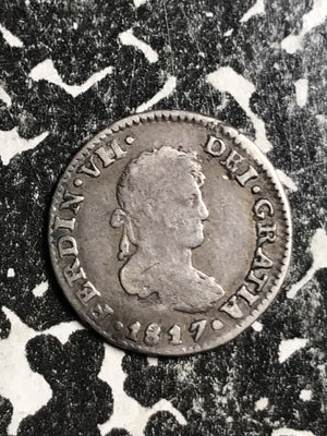 1817 Spain 1/2 Real Lot#X6766 Silver!