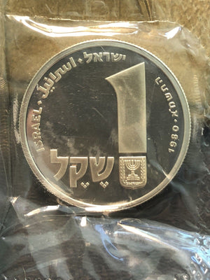 1980 Israel 1 Sheqel Silver Hanukka Lot#I3 With Original Case
