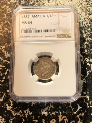 1887 Jamaica 1 Farthing NGC MS64 Lot#G056 Beautiful Piece! Low Mintage!