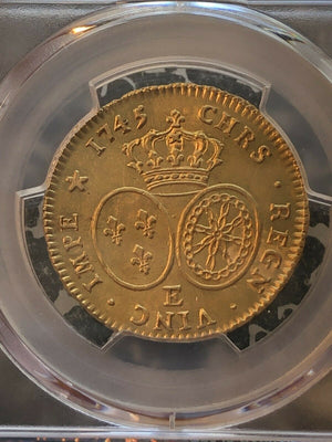 1745-E France Double Louis D'Or PCGS MS61 Lot#G203 Gold! 2,294 Pieces Minted!