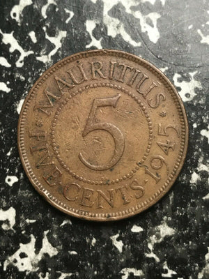 1945 Mauritius 5 Cents Lot#L2395 Low Mintage!