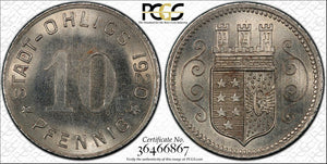 1920 Germany Ohligs 10 Pfennig Notgeld PCGS MS65 Lot#G132 Gem BU!