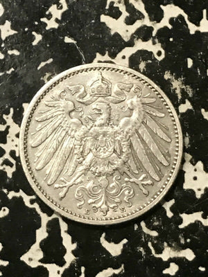 1901-E Germany 1 Mark Lot#L143 Silver! Low Mintage! Old Cleaning