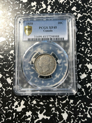 1858 Canada 20 Cent PCGS XF45 Lot#G383 Silver! Popular 1 Year Type!