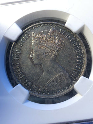 1857 Great Britain Gothic Florin NGC AU55 Lot#G119 Silver!