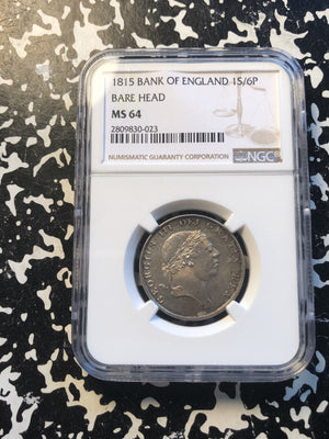 1815 Great Britain 1 Shilling 6 Pence Bank Token NGC MS64 Lot#G973 Silver! Nice!