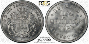 1923-J Germany Hamburg 1/2 Million Mark PCGS MS67 Lot#G129 Exceptional Piece!