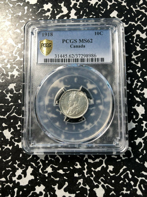 1918 Canada 10 Cent PCGS MS62 Lot#G381 Silver! Nice UNC Example!