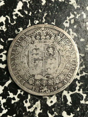 1887 Great Britain 1/2 Half Crown Lot#L3829 Silver!