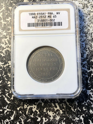 1888 France 'Metal Bimetallique' Trial Essai NGC MS65 Lot#G122 MAZ-2312 Scarce!