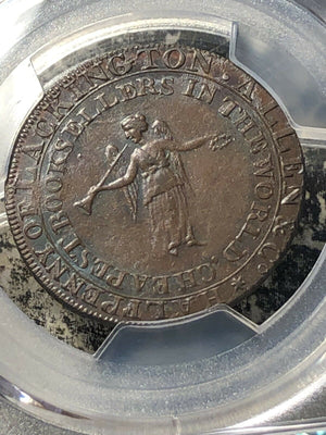 1795 Great Britain 1/2 Penny Conder Token PCGS MS62 Brown Lot#G147 DH-357a