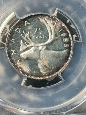 1953 No Strap Canada 25 Cent PCGS MS64 Lot#G379 Silver! Choice UNC!