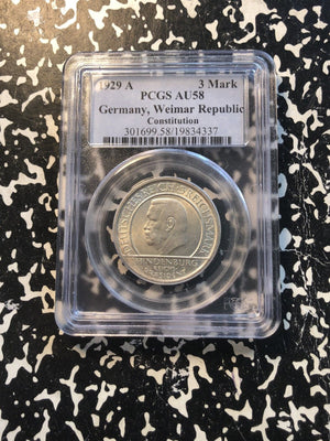 1929-A Germany 3 Marks PCGS AU58 Lot#G969 Silver! Weimar Constitution