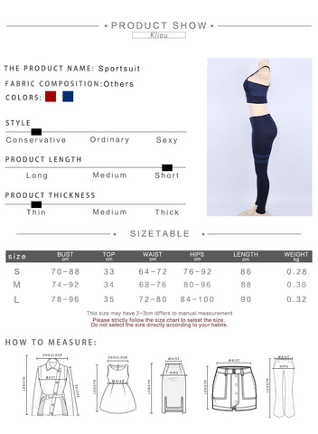 Sizing chart for  Scarlet Hottie Fitness Set  from waakiki.com